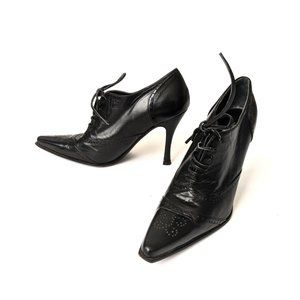 Ballistic Black Pointed Lace Up Oxford Heels Shoes